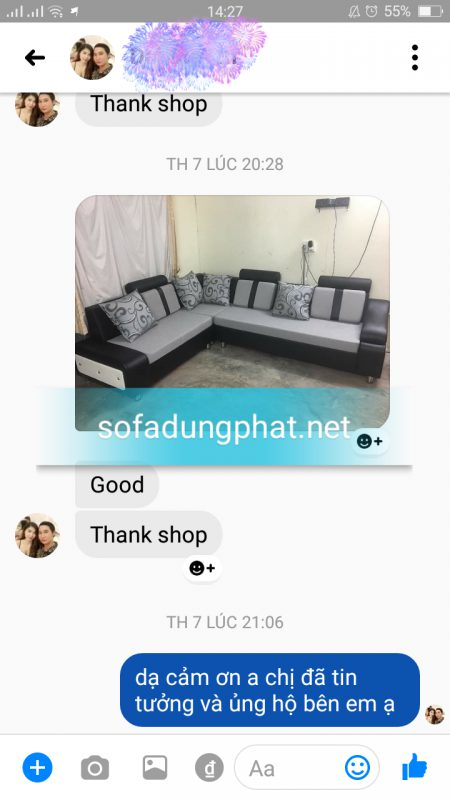 khách gửi cảm nhận khen sofa đẹp
