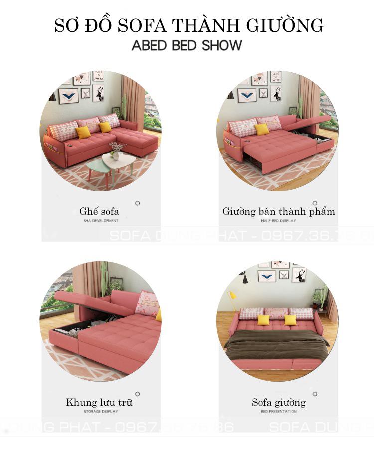sơ đồ sofa giường kéo 2m1