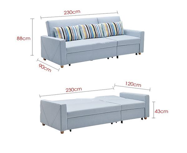 Kích thước chuẩn sản phẩm ghế sofa giường kéo