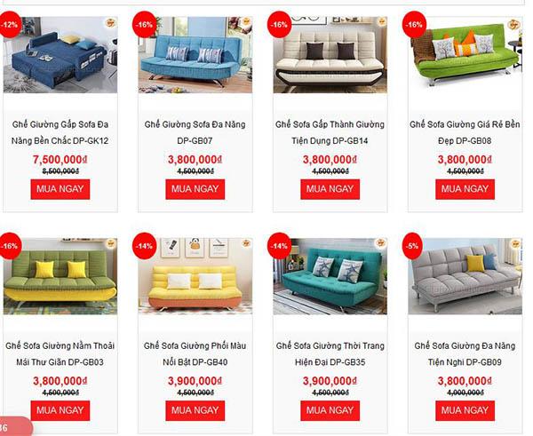 Sản phẩm ghế sofa giường giá rẻ trên thị trường hiện nay tại công ty Dũng Phát