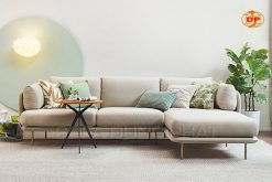 Sofa Góc Màu Trắng Trang Nhã Gối Ôm Hoa Lá DP-G31