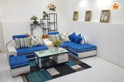 Sofa Góc Cao Cấp Kết Hợp Da Và Đệm Vải Nhập Khẩu DP-CC65