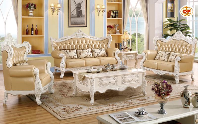Sofa Cổ Điển Da Cao Cấp Màu Trắng Đẹp Trang Nhã DP-CD49