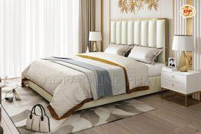 Giường Ngủ Thiết Kế Tựa Đầu Cao Viền Mạ Vàng Xa Hoa DP-GN55