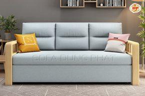 Ghế Sofa Giường Kéo Nhập Khẩu Màu Xanh Phối Tay Gỗ Tinh Tế DP-GK48