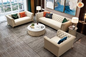 Bộ Sofa Nhập Khẩu Thiết Kế tân Cổ Điển Mạ Vàng Lấp Lánh DP-NK44