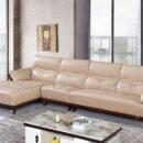 Sofa Nhập Khẩu Da Sáng Màu Phối Gỗ Nâu Trầm DP-NK53