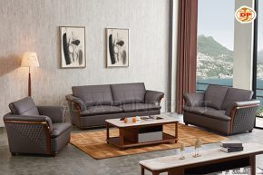 Bộ Sofa Nhập Khẩu Phối Gỗ Nâu Đẹp Ấm Áp DP-NK100